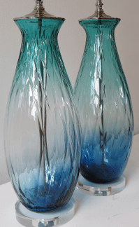 Turquoise Green/Blue Tall Blown Glass Lamp