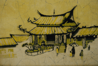 Framed Asian Batik Wall Art | Chairish