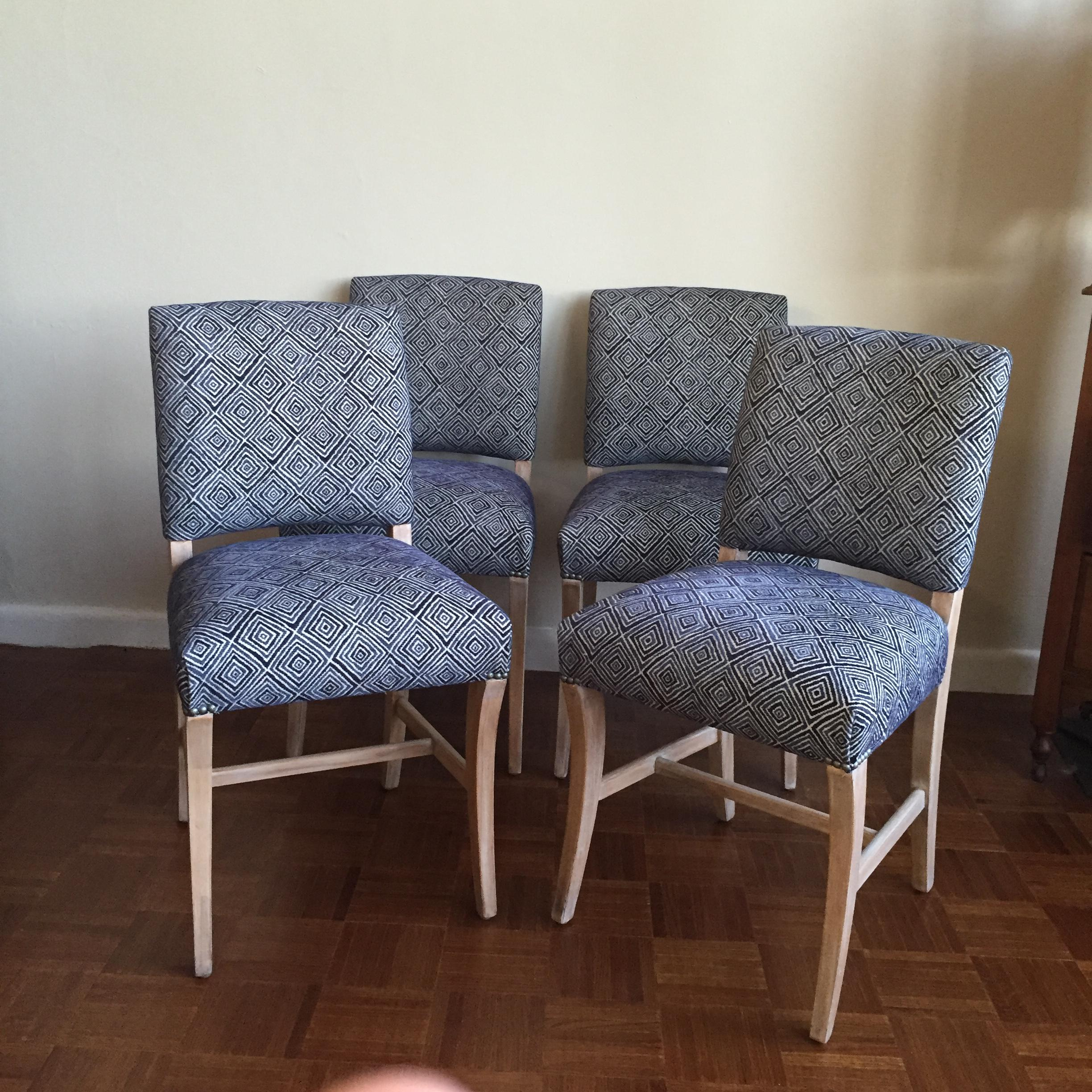 Light Wood Upholstered Blue Geometric Dining Chairs  Set