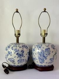 Vintage Chinese Blue White Ginger Jar Lamps - Pair | Chairish