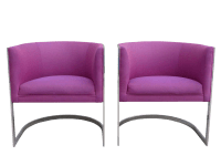 Chrome Cantilever Barrel Chairs