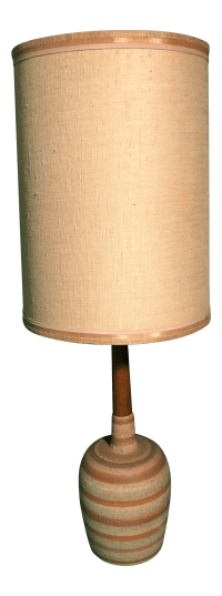Mid-Century Retro Danish Table Lamp with Long Linen Shade ...