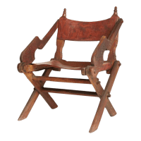 Antique Mexican Leather & Carved Wood Chair | Chairish