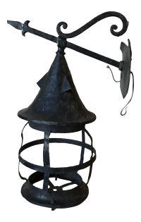 Antique Wrought Iron Outdoor Wall Lamp | Chairish