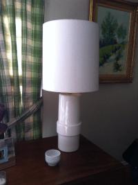 Mid-Century Modern White Table Lamp | Chairish
