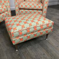 Mid-Century Patterned Wingback Chairs & Ottoman | Chairish