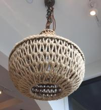 Jute Macrame Pendant Light Fixture - New   Chairish