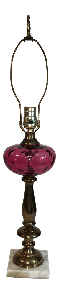 Vintage Cranberry Glass Lamp | Chairish