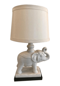 Vintage White Elephant Lamp | Chairish