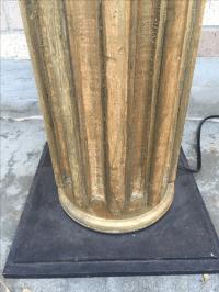 Italian Column Gilt Floor Lamp | Chairish