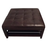 Crate and Barrel Leather Ottoman | Chairish