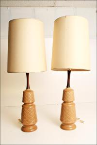 Mid-Century Modern Brown Ceramic Table Lamps - Pair | Chairish