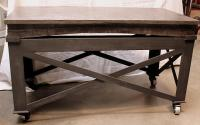 Vintage Industrial Rolling Coffee Table | Chairish