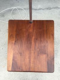 Mid Century Walnut Chrome Lucite Floor Lamp | Chairish
