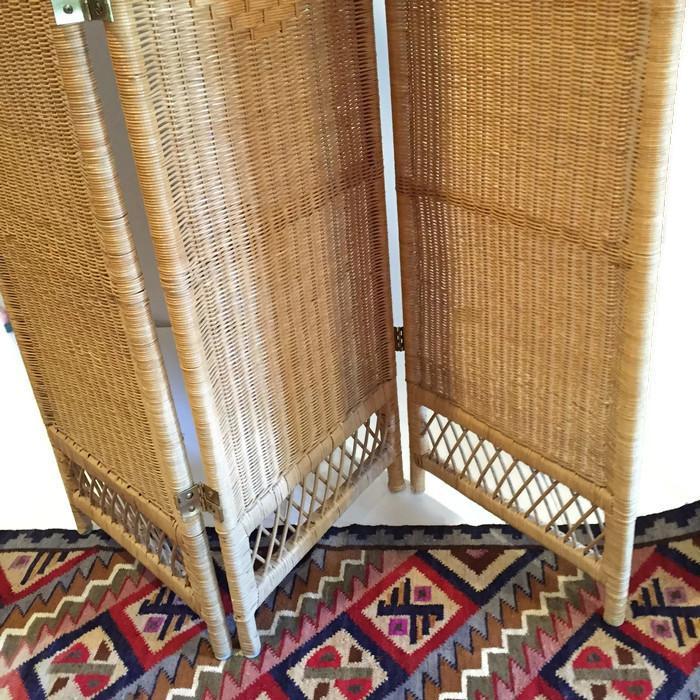 Vintage Wicker Rattan Folding Screen Room Divider  Chairish