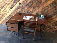 Custom Mid-Century Style Walnut Wrought Iron Desk | Chairish