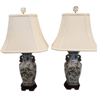 Hand-Painted Porcelain Bird Lamps - A Pair | Chairish