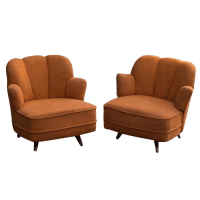 Mid-Century Scalloped Slipper Swivel Chairs - A Pair ...