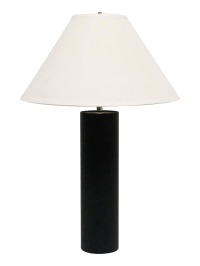 Black & Chrome Cylinder Table Lamp | Chairish