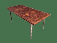 Mid-Century Industrial Burl Wood Dining Table | Chairish
