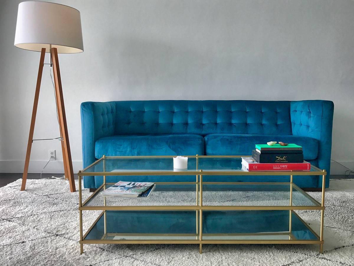Blue Teal Tufted Velvet Upholstered Sofa Sleeper Bed Couch