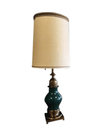 Stiffel Green Porcelain & Brass Table Lamp | Chairish