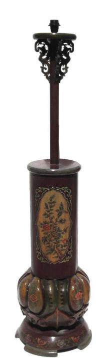 Chinese Flower Red & Yellow Round Base Floor Lamp | Chairish
