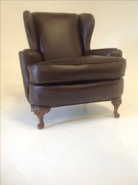 Antique Brown Leather Wing Chair | Chairish
