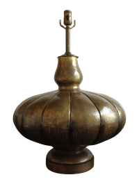 Large Hammered Brass Gourd Table Lamp