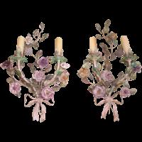 Italian Tole & Porcelain Sconces - A Pair | Chairish
