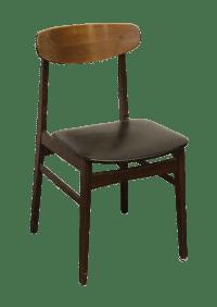 Mid-Century Bent Wood & Black Vinyl Chair | Chairish