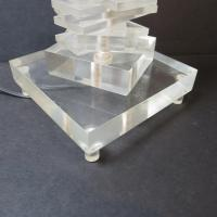 Mid-Century Stacked Helix Lucite Table Lamp | Chairish