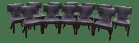 Purple Leather Custom Dining Chairs - Set of 12 | Chairish