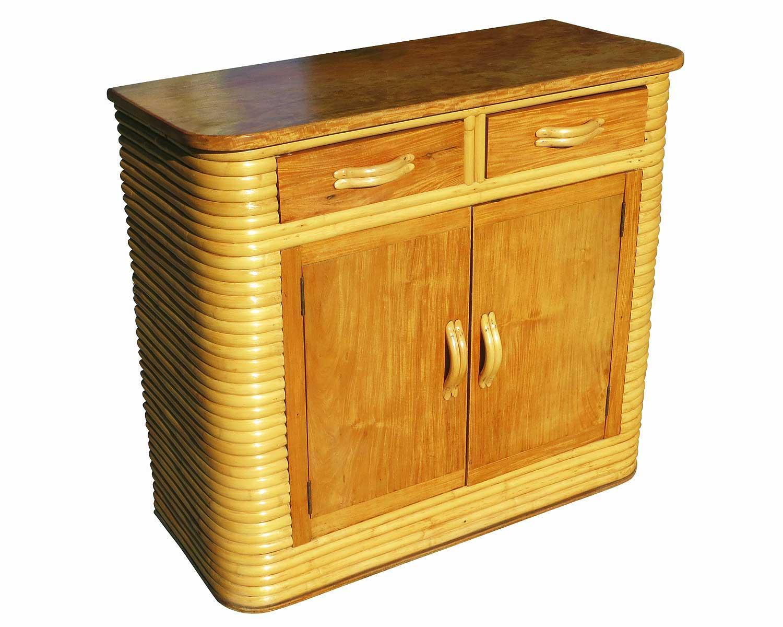 Stacked Rattan & Mahogany Storage Cabinet