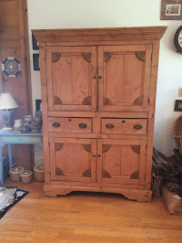 Charming Old Rustic Pine Linen Press Cabinet | Chairish