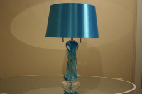 Turquoise Blue Glass Lamp With Shade | Chairish