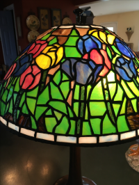 Antique Handel Art Nouveau Leaded Slag Glass Shade Lamp ...