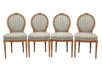 Louis XVI Stryle Oval Back Dining Chairs - Set of 4   Chairish
