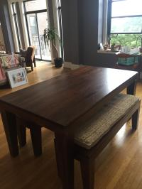 West Elm Carroll Farm Kitchen Table & Benches | Chairish