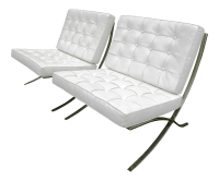 Mid-Century Barcelona Style White Leather & Chrome Chairs ...