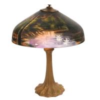Art Nouveau Antique Reverse Painted Lamp C. 1900   Chairish