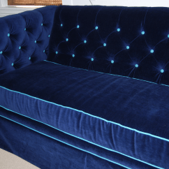White Company Sofa Throws Italian Leather Makers Navy Velvet Tufted With Teal Piping | Chairish