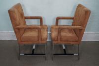 Milo Baughman Mid-Century Chrome Chairs - A Pair | Chairish