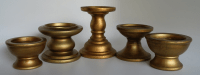 Gold Ceramic Pedestal Candle Holders - Set of 7 | Chairish
