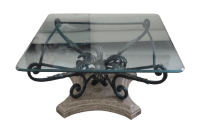 Elegant Beveled Glass Top Coffee Table | Chairish