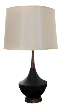 Mid-Century Modern Black Ceramic Table Lamp | Chairish