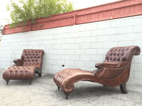 Italian Lounge Chaise Leather Chairs - A Pair | Chairish
