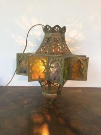 Moroccan Persian Brass Hanging Lamp or Lantern | Chairish