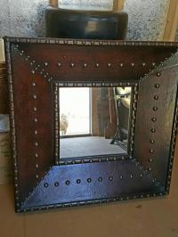 Rustic Metal Wall Mirror   Chairish