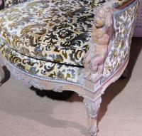 Victorian Distressed Painted Carved Bergere Chair | Chairish